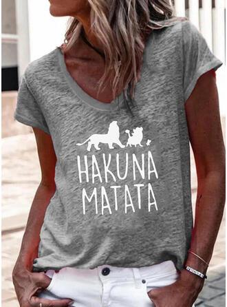Mit Tierdruck Buchstaben V-Ausschnitt Kurze Ärmel T-Shirts