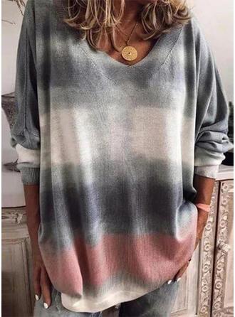 Tie Dye V-Ausschnitt Lange Ärmel T-Shirts