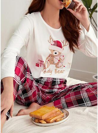 Baumwollmischungen Lange Ärmel Kariert Weihnachten Pyjama Set