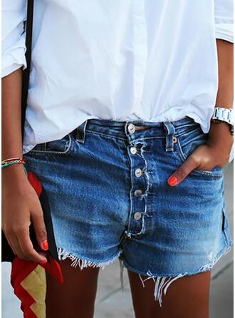 Shirred Übergröße Quaste Sexy Jahrgang Kurze Hose Denim Jeans