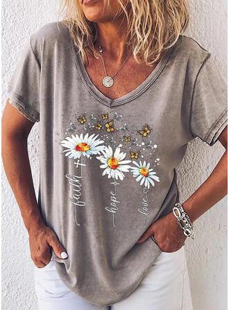 Mit Tierdruck Blumen Buchstaben V-Ausschnitt Kurze Ärmel T-Shirts