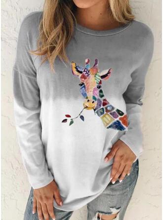 Mit Tierdruck Gradient Rundhalsausschnitt Lange Ärmel T-Shirts