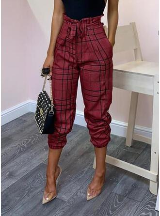 Kariert Bowknot Lange Elegant Sexy Hosen