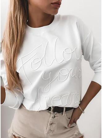 Figur Einfarbig Rundhalsausschnitt Lange Ärmel T-Shirts