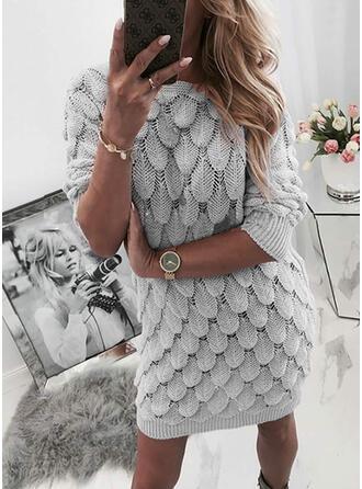 Einfarbig Rundhalsausschnitt Freizeit Lang Eng Pulloverkleid