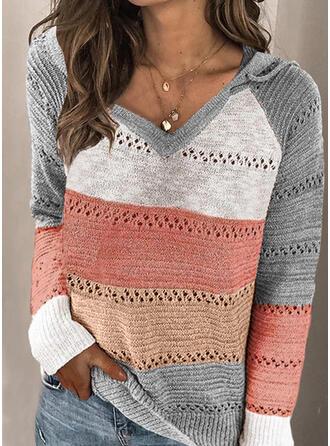 Geblockte Farben Mit Kapuze Freizeit Pullover