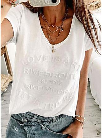Einfarbig Buchstaben V-Ausschnitt Kurze Ärmel T-Shirts