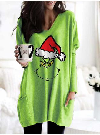 Drucken Taschen Rundhals Lange Ärmel Weihnachts-Sweatshirt