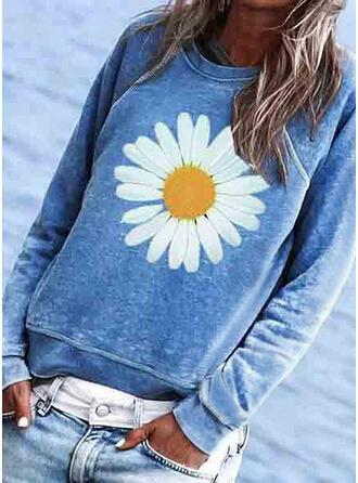 Blumen Druck Rundhalsausschnitt Lange Ärmel T-Shirts