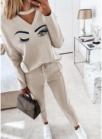 Druck Kordelzug Lässige Kleidung Einfach Anzüge