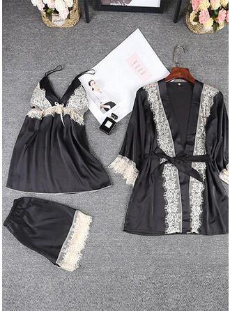 Polyester Elasthan Spitze Einfarbig Halfter Sexy 3pcs Cami Set Kleid
