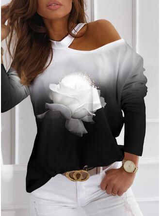 Drucken Blumen Gradient Eine-Schulter Lange Ärmel Freizeit Blusen