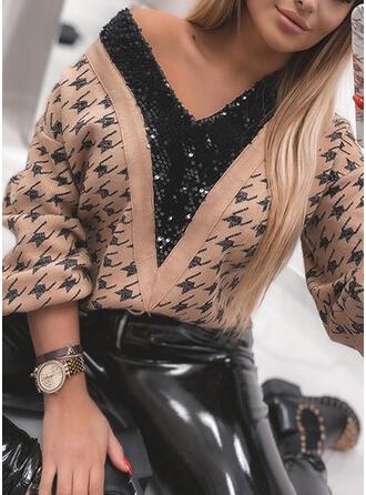 Drucken Pailletten V-Ausschnitt Freizeit Pullover
