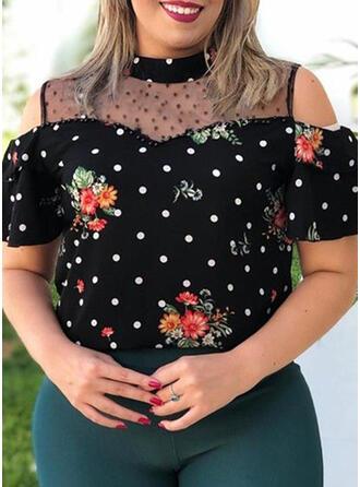 Blumen Gepunktet Schulterfrei Kurze Ärmel Lässige Kleidung Große Größen Blusen