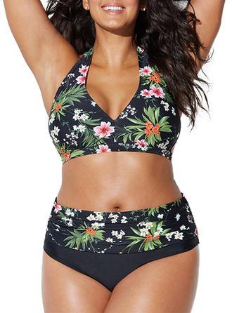 Blumen Hochtailliert Tropischer Druck Neckholder Schön Übergröße Bikinis Bademode