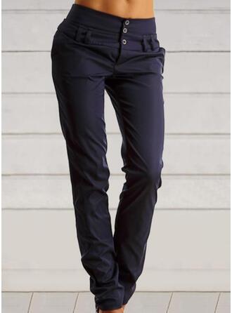 Einfarbig Shirred Übergröße Lässige Kleidung Jahrgang Hosen