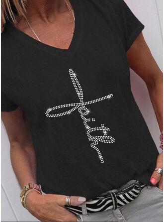 Pailletten Buchstaben V-Ausschnitt Kurze Ärmel T-Shirts