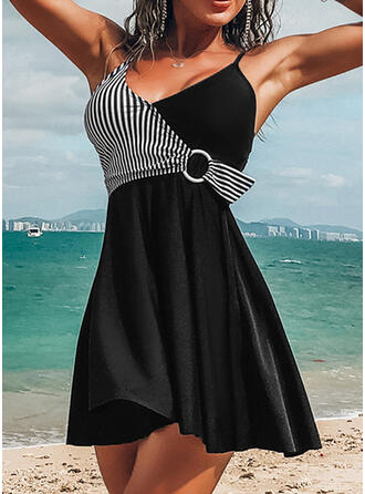 Gestreift Träger V-Ausschnitt Sexy Elegant Badekleider Bademode