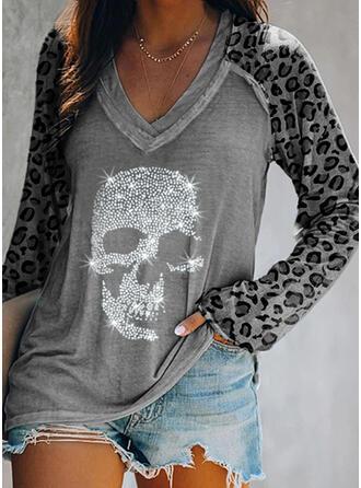 Leopard Pailletten V-Ausschnitt Lange Ärmel T-Shirts