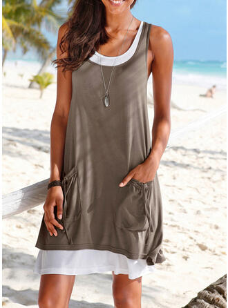 Einfarbig Träger U-Ausschnitt Sexy Übergröße Boho Strandmode Bademode