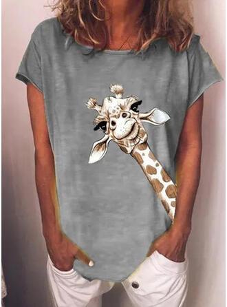 Mit Tierdruck Rundhalsausschnitt Kurze Ärmel T-Shirts