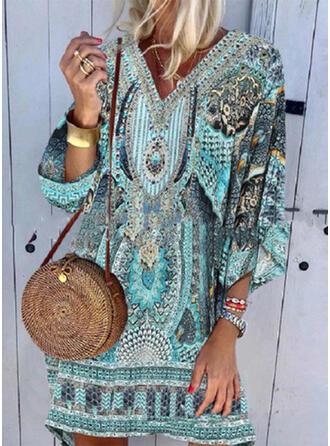 Spleiß Farbe Tropischer Druck V-Ausschnitt Attraktiv Übergröße Lässige Kleidung Boho Strandmode Bademode