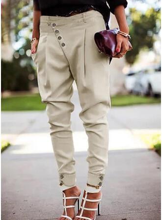 Einfarbig Shirred Übergröße Elegant Sexy Hosen