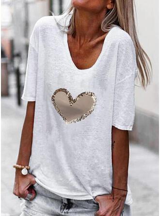 Herz Druck V-Ausschnitt 1/2 Ärmel T-Shirts