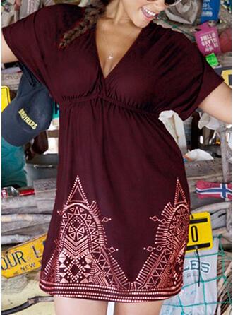Große Größen Druck Kurze Ärmel A-Linien-Kleid Über dem Knie Lässige Kleidung Urlaub Kleid