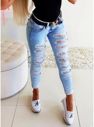 Shirred Zerrissen Sexy Einfarbig Einfach Denim Jeans