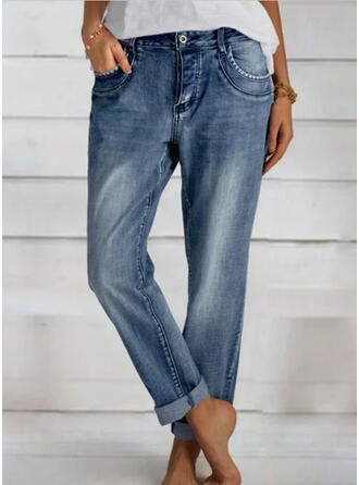 Shirred Elegant Einfach Denim Jeans
