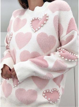 Drucken Perlen Herz Rundhalsausschnitt Freizeit Pullover
