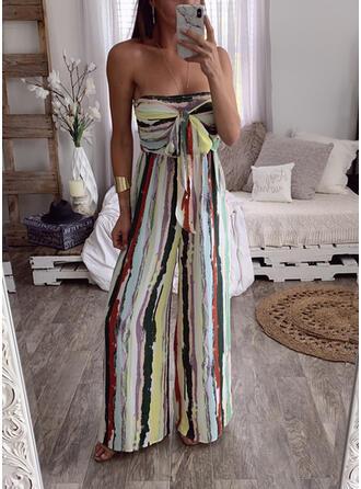 gestreift Trägerlos Ärmellos Lässige Kleidung Sexy Overall
