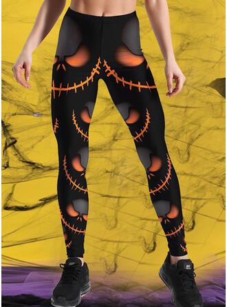 Druck Übergröße Halloween Lange Lässige Kleidung Sportlich Yoga Hosen Gamaschen