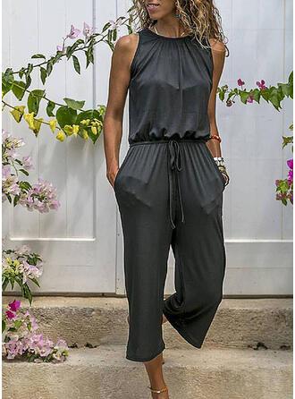 Einfarbig Rundhalsausschnitt Ärmellos Lässige Kleidung Overall