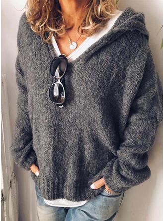 Einfarbig Grobstrick Mit Kapuze Freizeit Pullover