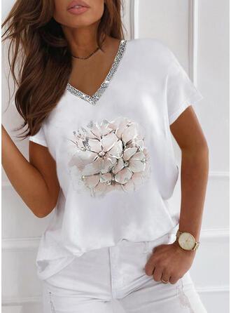 Blumen Druck Pailletten V-Ausschnitt Kurze Ärmel T-Shirts