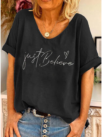 Herz Druck Buchstaben Rundhalsausschnitt Kurze Ärmel T-Shirts
