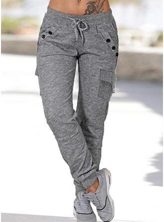 Taschen Shirred Übergröße Lässige Kleidung Sportlich Einfach Hosen