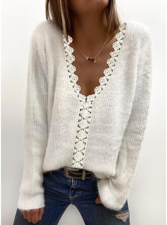 Einfarbig Spitze V-Ausschnitt Freizeit Pullover