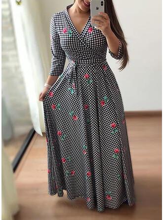 Große Größen Blumen Kariert Druck Lange Ärmel A-Linien-Kleid Maxi Lässige Kleidung Elegant Kleid