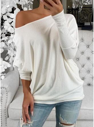 Einfarbig Rundhalsausschnitt Lange Ärmel Fledermausärmel T-Shirts