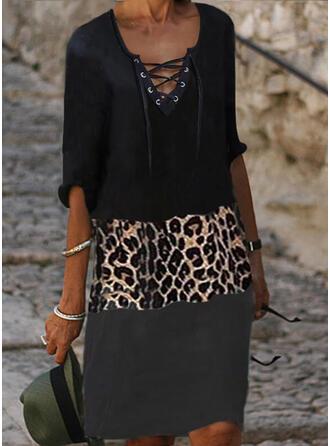 Geblockte Farben/Leopard/Zuschnüren 1/2 Ärmel Shift Knielang Freizeit Tunika Kleider
