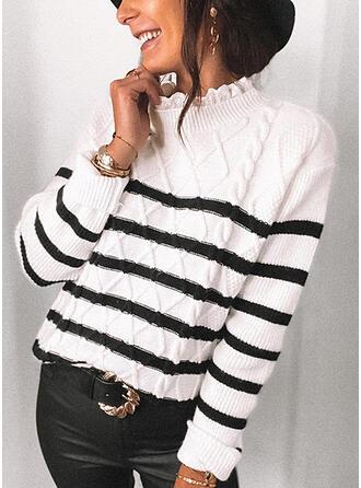 Gestreift Stehkragen Freizeit Pullover