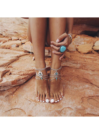 Schickes Legierung mit Nachahmungen von Perlen Frauen Strandschmuck