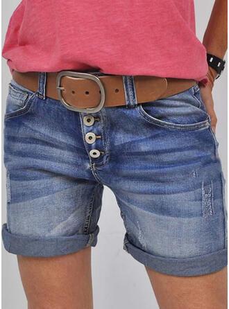 Shirred Übergröße Lässige Kleidung Jahrgang Kurze Hose Denim Jeans
