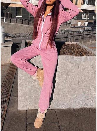 Einfarbig Lange Ärmel Lässige Kleidung Overall
