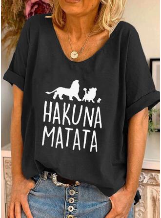 Mit Tierdruck Buchstaben Rundhalsausschnitt Kurze Ärmel T-Shirts