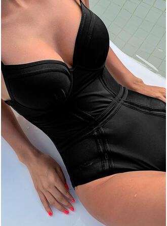 Einfarbig Hochdrücken Träger V-Ausschnitt Sexy Badeanzüge Bademode