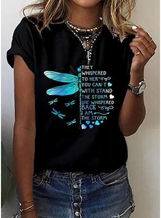 Mit Tierdruck Herz Buchstaben Rundhalsausschnitt Kurze Ärmel T-Shirts